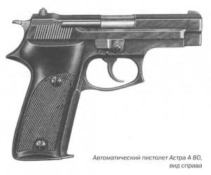 Автоматический пистолет Астра A 80, вид справа