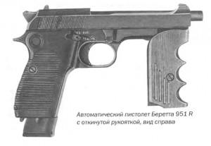 Автоматический пистолет Беретта 951 R с откинутой рукояткой, вид справа