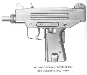 Автоматический пистолет Узи без магазина, вид слева