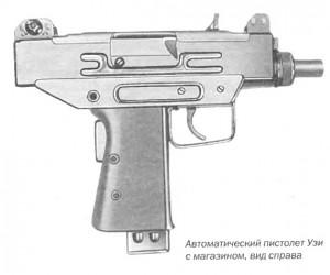 Автоматический пистолет Узи с магазином, вид справа
