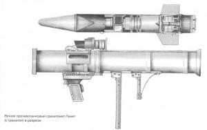 Ручной противотанковый гранатомет Пикет (с гранатой) в разрезе