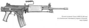 Ручной пулемет Галил ARM (5,56 мм) со сложенным плечевым упором и сошкой, вид справа