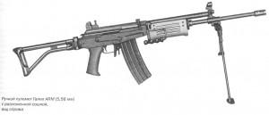 Ручной пулемет Галил ARM (5,56 мм) с разложенной сошкой, вид справа