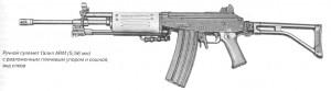 Ручной пулемет Галил ARM (5,56 мм) с разложенным плечевым упором и сошкой, вид слева