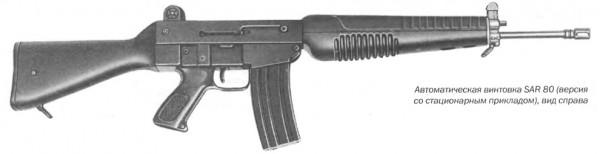 Автоматическая винтовка SAR 80 (версия со стационарным  прикладом), вид справа