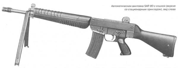 Автоматическая винтовка SAR 80 с сошкой (версия со стационарным прикладом), вид слева
