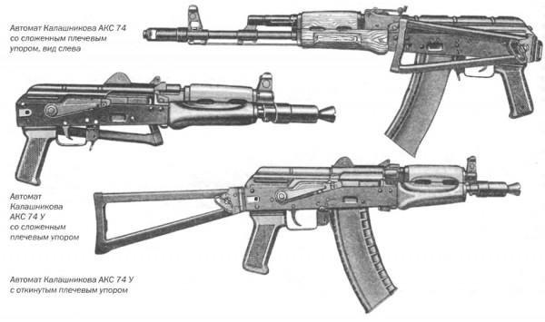 Автомат Калашникова АКС 74 со сложенным плечевым упором, вид слева