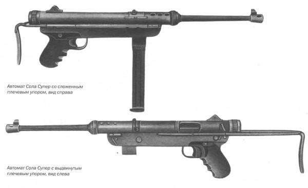 Автомат Сола Супер со сложенным плечевым упором, вид справа и вид слева