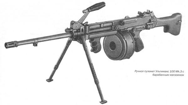 Ручной пулемет Ультимакс 100 Мк. 3 с барабанным магазином